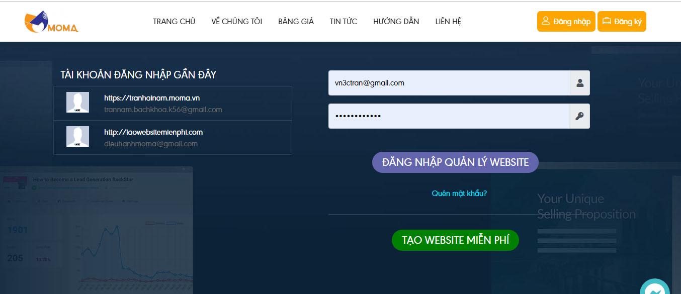 Tạo website bán hàng miễn phí với moma.vn